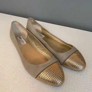 Jimmy Choo gold toe ballet flats